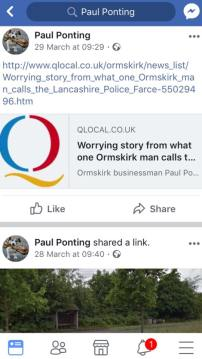 Paul Ponting the self proclaimed Ormskirk Vigliante sharing a online news report by Roger Blaxall