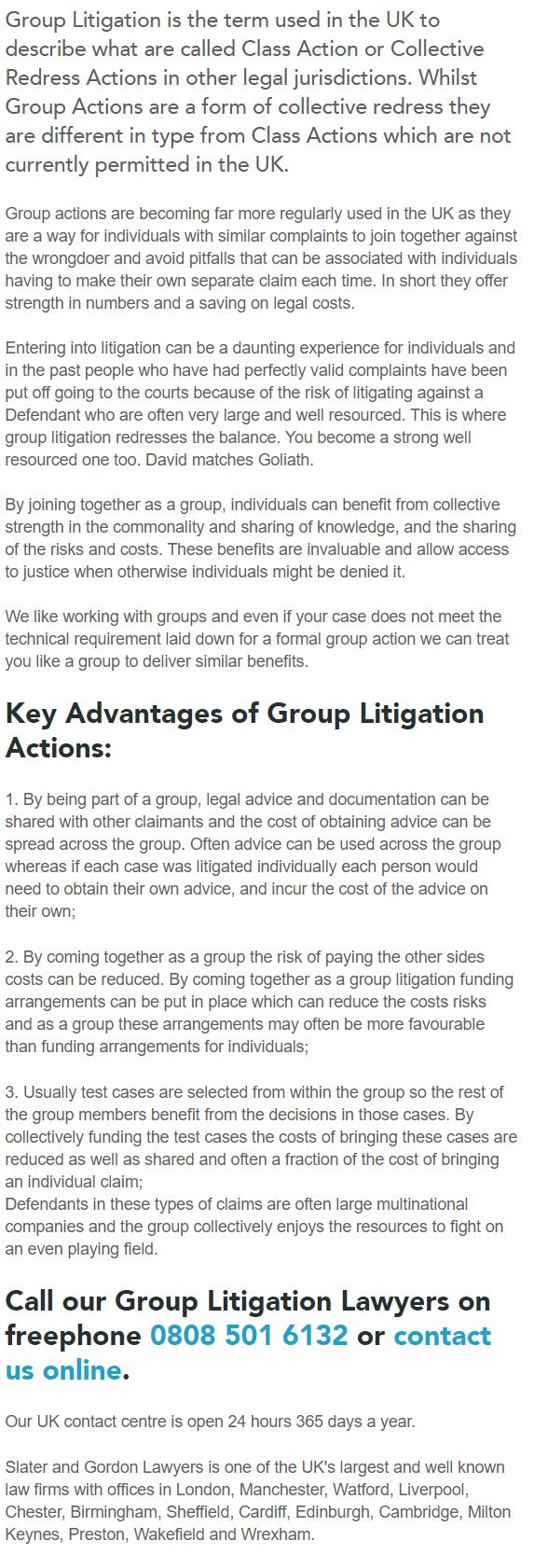 Group Litigation Explained- Slater & Gordon - Paul Ponting Ormskirk