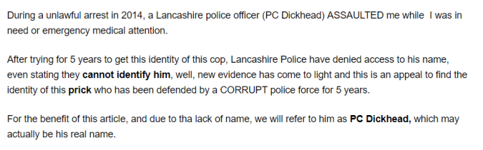 This is a screenshot from Paul Ponting's anti-police website www.ukcorruptpolice.com. Mr Ponting the Danoli Solutions LTD owner runs this hate filled website targeting members of the Police force and members of the public.